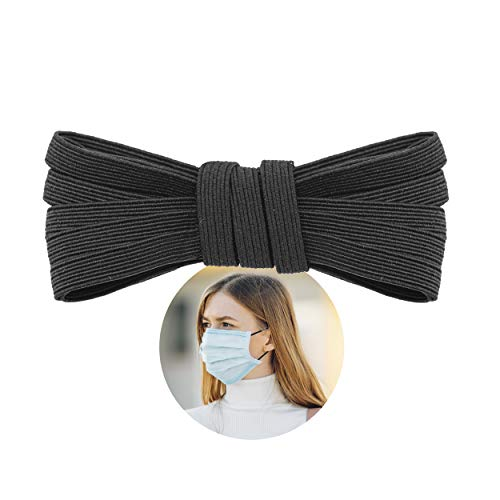 Elastic Band for Sewing - 1/4' (6.5mm) Heavy Stretch Flat Bungee - Arts and Crafts, DIY Face Masks - Knit Braided Cord - Stretchy String for Earloop - 10 Yards (Black), by Adolfo Designs
