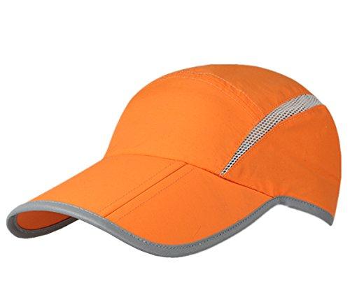 Connectyle Foldable Mesh Sun Cap Outdoor Sports Hat Breathable Sun Runner Cap with Reflective Trim Orange