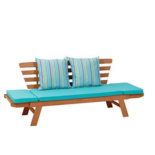 greemotion Multifunktionsbank Borkum akazie/blau, inklusive Kissen, als Sofa und Liege nutzbar, Gartenbank aus FSC® Akazienholz, Holzbank mit leicht schräger Rückenlehne - 5
