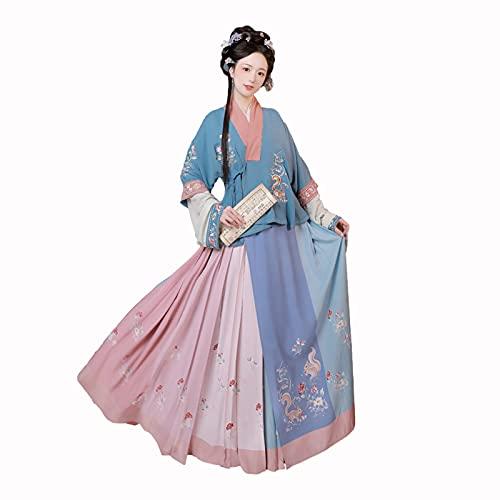 XIAOXIAO Hanfu - Vestido de hadas tradicional chino para primavera y cadver para mujer adulta falda princesa antigua disfraz de cosplay (color azul, talla: L)