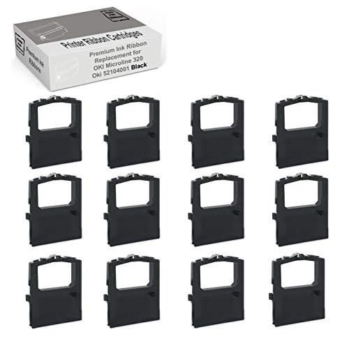 MARS POS Ribbons Compatible with Oki Microline 320 Turbo Ribbon Okidata 52104001 Black 12 Pack