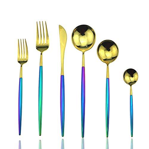 yywl Juego de cubiertos con espejo, arco iris, juego de cubiertos de acero inoxidable 18/10, color titanio y dorado, juego de tenedor de carne