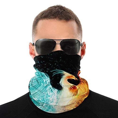 BDGAjdka Fire Ice Phoenix Face Face Scarf Seamless Bandanas Multifunctional Headwear For Men Women