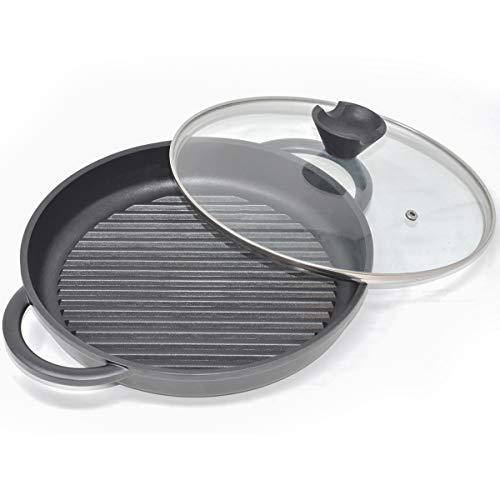 joeji's Kitchen Runde Grill Pfanne aus Aluminium Gusseisen - Cast Iron Skillet | 27cm Lodge Gusseisenpfanne Induktion zum Kochen | Schwarze große Gusseisen Pfanne Edelstahl mit Deckel