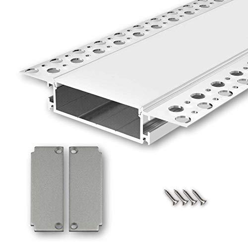 SALA104 U-Profil Aluminium LED eloxiert | L - 2m x B - 5,0cm x H - 1,85cm | Alu Kanal für LED Streifen + Acryl Abdeckung milchig-weiß + 2x Endkappen | Aluprofil für Strips bis 46mm Breite + belastbar