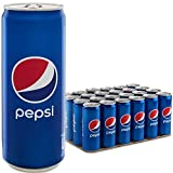 Pepsi Regular, Bevanda Analcolica Gusto Cola, Lattina Sleek, Formato da 24x0,33L