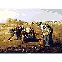 数字による絵画図手描きの絵画アートギフト数字によるDIY写真女の子キットキャンバスに描く家の装飾(フレームレス)40x50cm