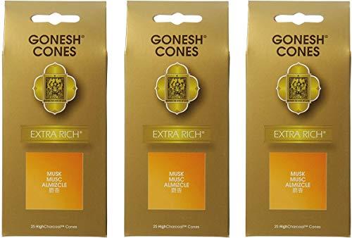 【3個セット】 ガーネッシュ(GONESH) インセンス コーン エクストラリッチ ムスク 25個入 (お香)