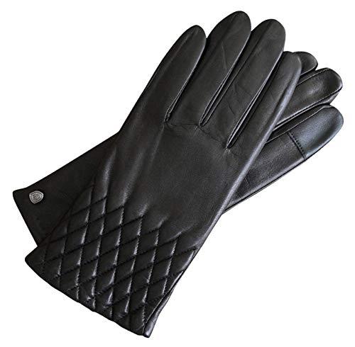 AKAROA ESTD 2019 Lederhandschuhe Damen ISA, italienisches Haarschafleder, Touchfunktion, Strickfutter aus 50% Kaschmir und 50% Wolle, schwarz M
