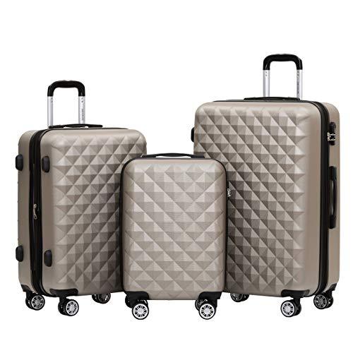 BEIBYE Zwillingsrollen 2066 Hartschale Trolley Koffer Reisekoffer Gepäck M-L-XL-Set (Champagner, Set)
