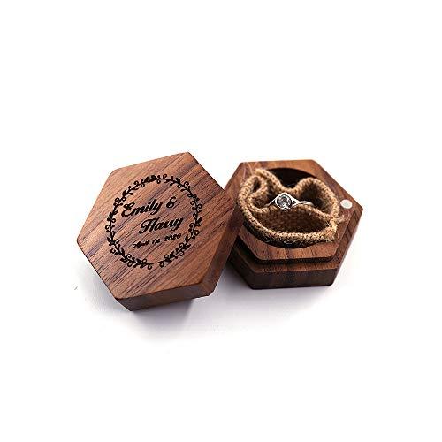 MUY Caja de Anillo de Madera Maciza con Letras Impresas Personalizadas Caja de joyería de Madera Maciza de Nogal Caja de Anillo de joyería para muj