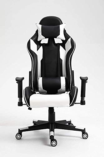 High Back Gaming Chair Office Chair – PU Leatherette Upholstered Ergonomic Adjustable Swivel Chair, with Lumbar Support and Headrest(White & Black)
