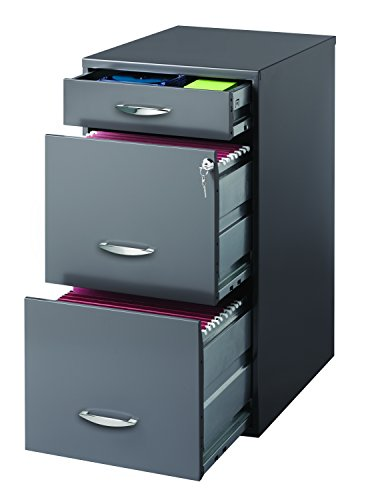 Space Solutions 3 Drawer File Cabinet with Pencil Drawer Charcoal