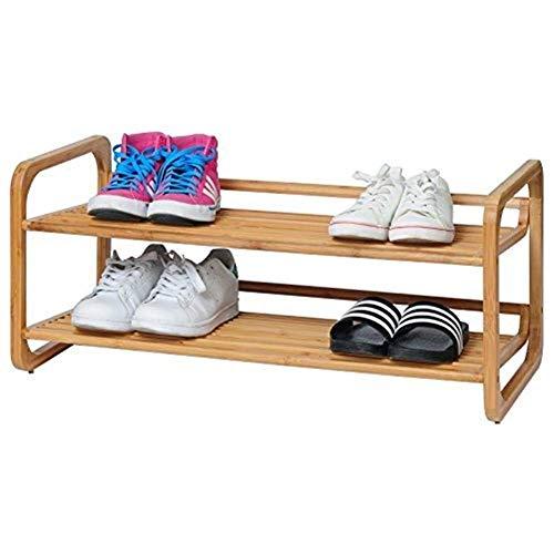 CENPEN Zapatero de bambú, pequeño y estrecho de 2 niveles, organizador de almacenamiento de zapatos