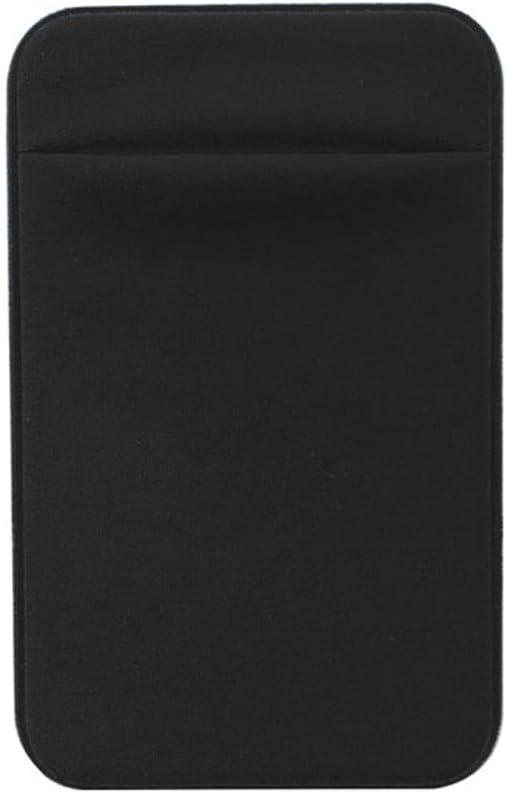 Phone Back Pocket, Card Pocket, Secure Card Holder for Back of Phone, Stretchy Fabric Cell Phone Wallet Stick On Credit Card Case(Black)