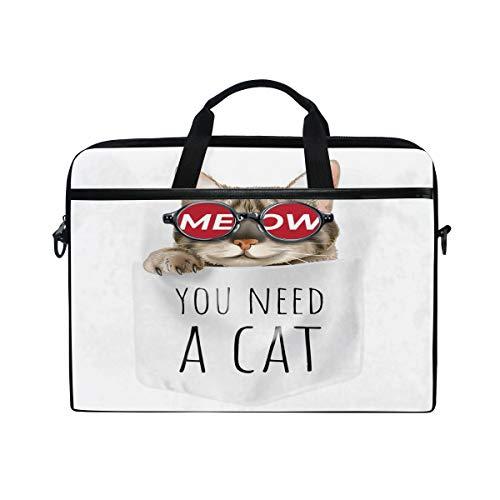 HaJie - Borsa per computer portatile con gatto e animali, 14-14,5 in borsa protettiva da viaggio con tracolla per uomini, donne, ragazzi e ragazze