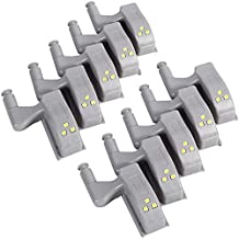 AMIR Luminaria de Armario LED Automatica Dobradiça Sensor Inteligente Lampada Guarda Roupa Porta Iluminaçao (Kit 10 Uni, L...