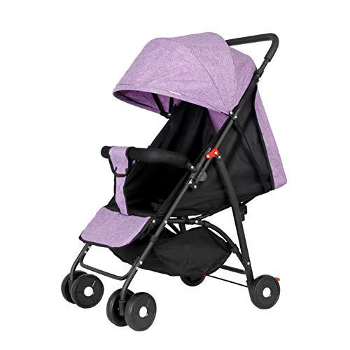 Cochecito De Bebé Plegable, Ultraligero, Multifuncional, Paraguas, Coche, Reclinable, Sentado, Bebé, Cuatro Ruedas, Carrito, Púrpura