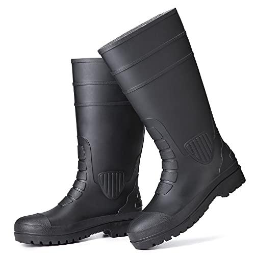 gracosy Botas Lluvia PVC de Tubo Largo para Hombres Zapatos de Lavado de Autos Botas de Jardín Color Sólido Nuevo Grueso Antideslizante Impermeable Patio al Aire Libre Junto al Mar