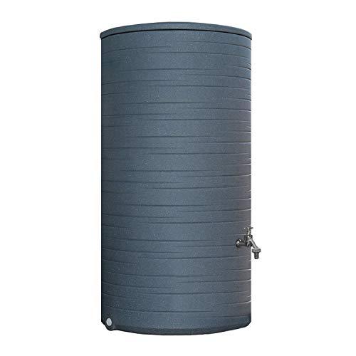 Regentonne grau Regenwassertank Novara 285 Liter aus UV- und witterungsbeständigem Material. Regenfass bzw. Regenwassertonne mit kindersicherem Deckel und hochwertigen Messinganschlüssen