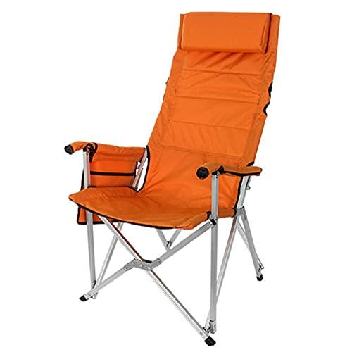 NASTON Sillas Plegables Aire Libre Adecuadas para Acampar/Playa/Pesca/Césped, Sillones Portátiles Respaldo Alto Bolsillos, Soporte 200 KG,Naranja