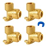 """SUNGATOR 90 Degree Drop Ear Elbow, Push Fit Plumbing Fittings, Push-to-Connect, 1/2"""" Ptc x 1/2"""" NPT Female Adapter with Disconnect Clip, Lead Free Brass for PEX, PE-RT, CPVC Pipe (4-Pack)"""