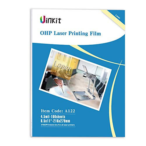 "OHP Film Overhead Projector Film - 8.5x11"" for Laser Jet Printer and Copier Transparency Film 100 Sheets Uinkit"