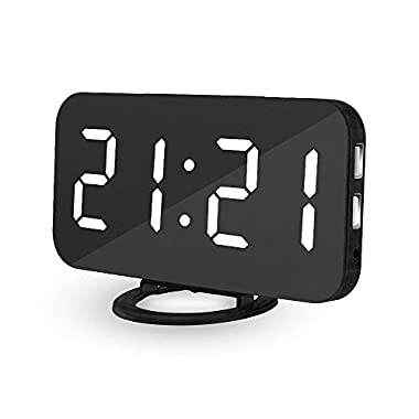 UBMSA Big Digital Alarm Clock, 6.5  Large Numbes Alarm Clock, Mirror Led Electric Alarm Desk Clock with Adjustable Brightness 2 USB Charging Ports, Clocks Big Snooze Button for Bedrooms Decor (White)