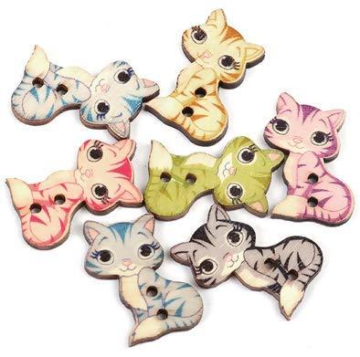 Handarbeit-Lieblingsladen 50 Stück Holzknöpfe Katze 20 x 27 mm, 2 Löcher Knöpfe annähen