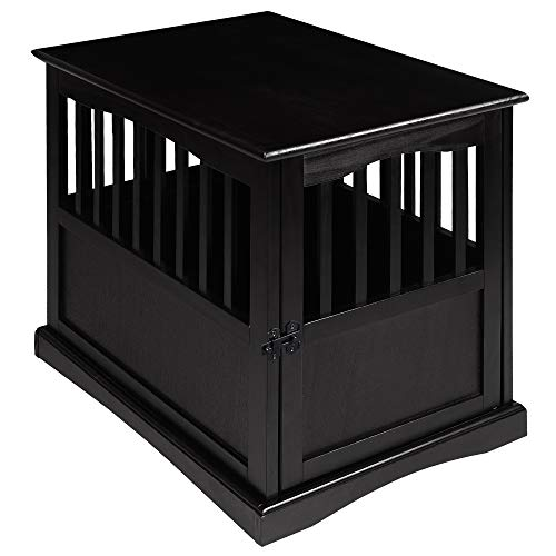 Casual Home Wooden Medium Pet Crate, End Table, Black