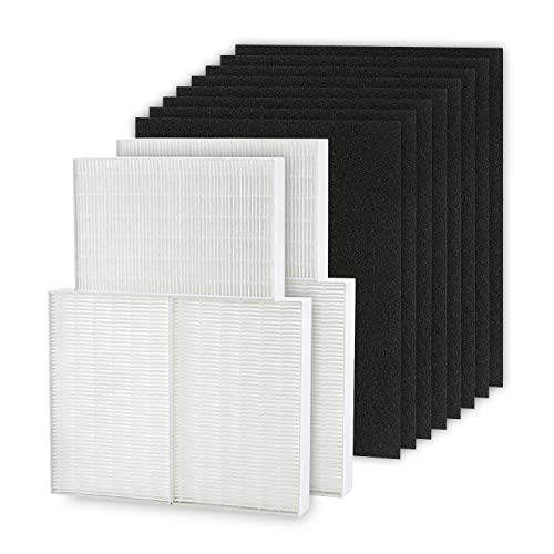 Cabiclean HEPA Filter R Compatible for HPA300 Honeywell Air Purifier Filters - Honeywell R Filter 6 Pack with 8 Pack Precut Activated Charcoal Pre Filters for Honeywell HPA300 & HRF-R3, HRF-R2, HRF-R1