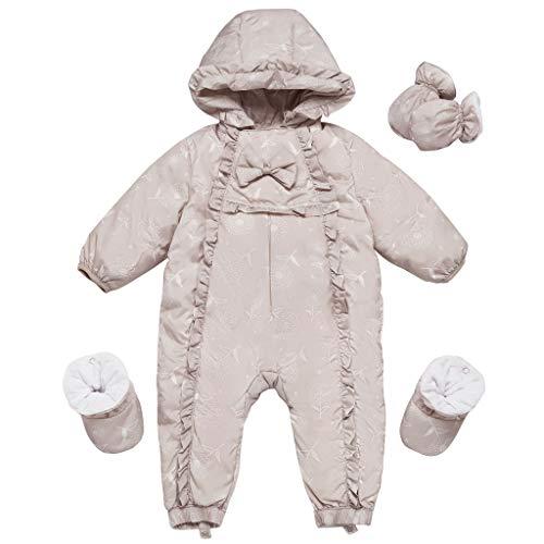 Baby Mädchen Schneeanzüge Winter Overall mit Kapuze Handschuhe Füßlinge Daunen Strampler Prinzessin Outfit-Set, Grau 3-6 Monate