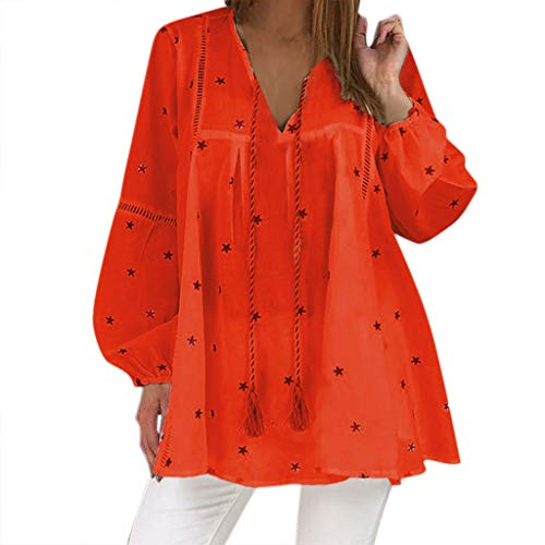Alangbudu Women V Neck Hollow Out Baggy Blouse Long Lantern Sleeve Swing Shirt Loose Pullover Drawstring Star Tops Red