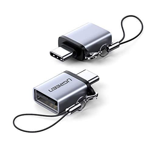 UGREEN Adaptador USB C a USB 3.0, USB Tipo-C a USB OTG Adapter USB C Adaptador Tablet Samsung USB Adaptador USB Hembra a USB C Compatible con MacBook Pro/Air, iPad Pro 2020 2018, 2 Unidades(Gris)