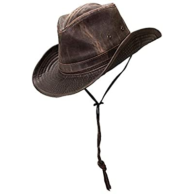 Dorfman-Pacific Weathered Outback Hat With Chin Cord (XX-Large, Brown)