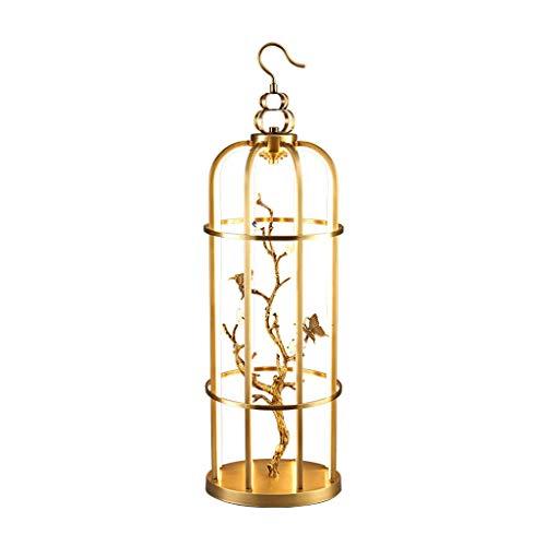 HNWNJ lámpara de pie Tipo Loft Todas Las lámparas de pájaro de la Caja de pájaros de Cobre Luz de Lujo de Lujo Nuevo Chino Diseñador de té Lámpara de Estudio para Sala de Estar Villa de Dormitorio