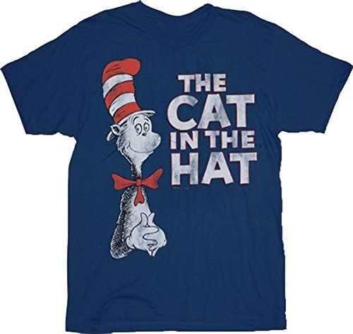 Dr. Seuss The Cat in the Hat Vintage marineblau Erwachsene T-Shirt Small