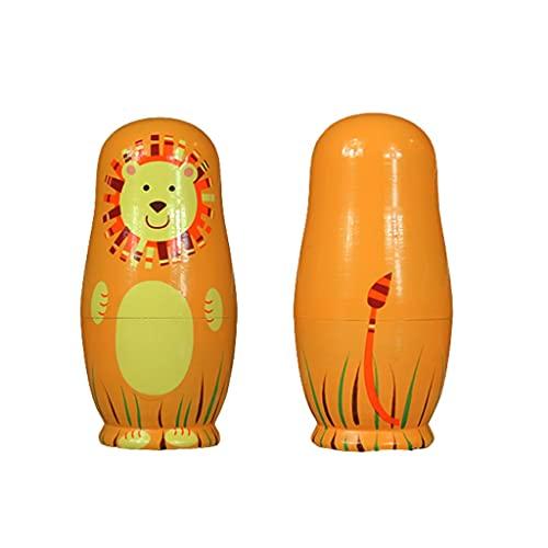 FEANG Muñecas rusas de anidación de muñecas rusas para niños, animales matrioshka de madera, juego de 5 piezas apilables para niñas niños cumpleaños o decoración del hogar juguetes hechos a mano
