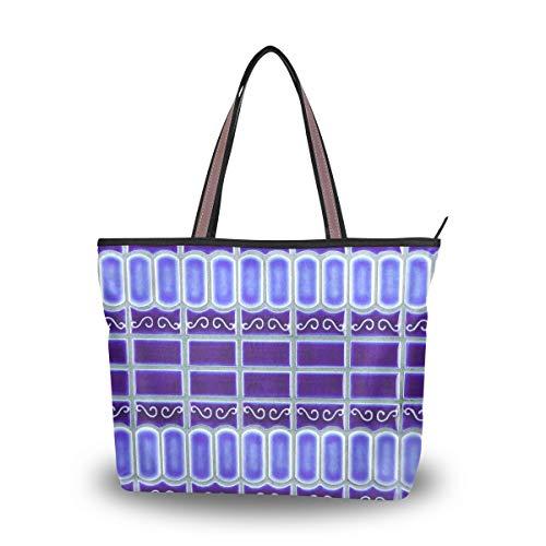 Eslifey Mosaik Fliesen Kobaltblau Porzellan Print Damen Handtaschen Schultertaschen für Damen Mädchen Gr. 38, multi