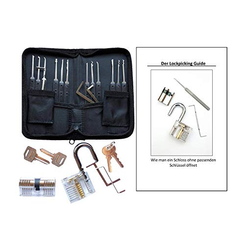 Smith-Picking Lockpicking Set 18 Teilig, Inklusive Buch Und 2 Transparenten Übungsschlosser, Dietriche Aus Edelstahl, Anleitung Für Anfänger Und Profis, Übungsschloss, Lockpick Kit