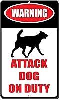 義務目新しさ面白い金属看板に警告攻撃犬