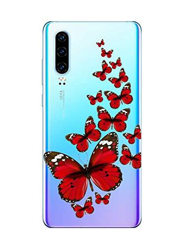 Oihxse Funda Conpatible con Huawei Y5 2018/Y5 Prime 2018 Silicona Transparente Dibujos Mariposa Cover Suave TPU Gel Cristal Clear Delgada Anti- Arañazos Protección Carcasa Case,Rojo