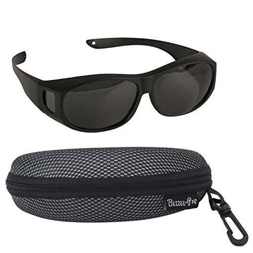 Bezee Pro zonnebril, overtrekbril voor brildragers, gepolariseerd, mannen en vrouwen, fietsen tegen verblinding - licht - comfortabel - zonnebril over normale brillen (zwart)