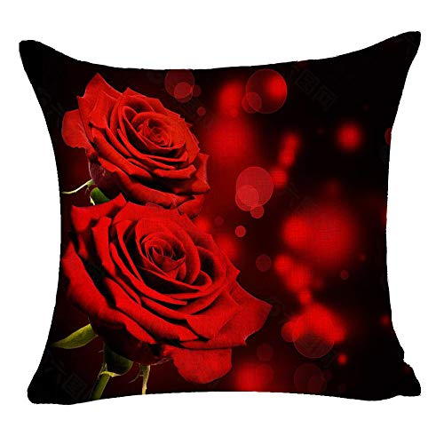 GAWEKIQE Flower Red Rose Best Gift for Family Friends Square Cotton Linen Decorative Throw Pillow Cover Cushion Case for Family Bed Sofa Outdoor 18inches (A4)