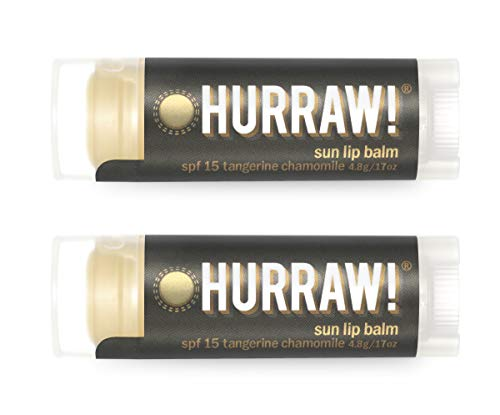 Hurraw Sun Protection (SPF 15, Tangerine, Chamomile) Lip Balm, 2 Pack