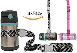 Sippy Cup Straps for Baby Bottle Toy Leash 4 Pack for Stroller High Chair Strap (Black/Pink)