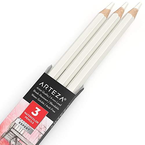 Arteza Professional Watercolor Pencils, Pack of 3, A024 White Quartz, Water-Soluble Pencils for Coloring, Blending, Layering & Watercolor Techniques