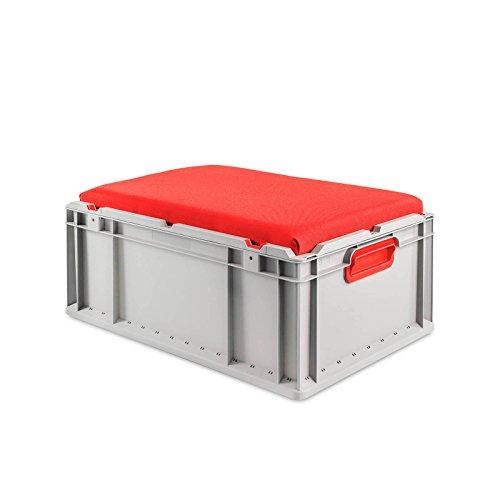 aidB Eurobox NextGen Seat Box, rot, (600x400x265 mm), Griffe geschlossen, Sitzbox mit Stauraum und abnehmbarem Kissen, 1St.