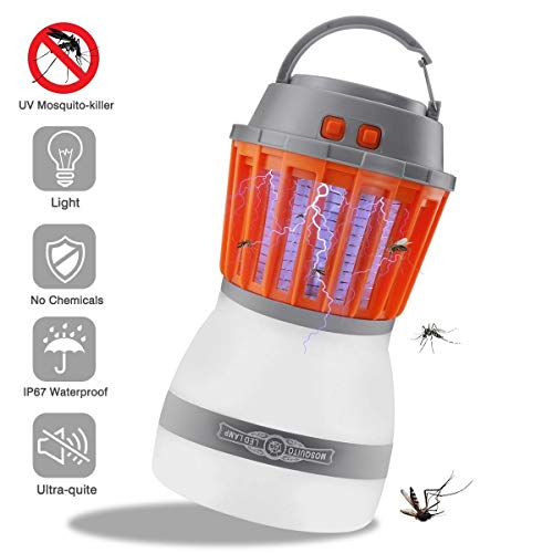 GANGHUAJIALIAN 2-in-1 Camping Lantern, Portable IP67 Waterproof Mosquito Killer LED Lantern with USB Charging, Retractable Hook, Removable Lampshade