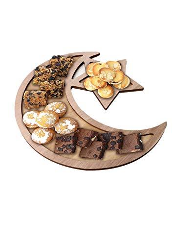 Eid Dekorationen Holz Moon Star Dessert Teller Gebäck Tablett Ramadan Dekorationen für Home Party Food Obst Snack Servieren Geschirr